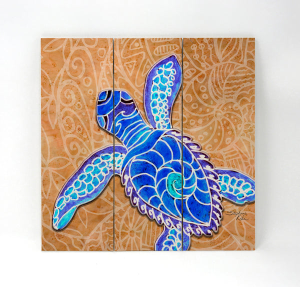 Wall Art Wood Triptychs - Blue Baby Turtle