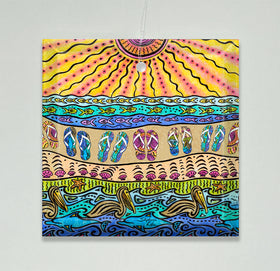 Ornament/Suncatcher - Beach Time Flip Flops