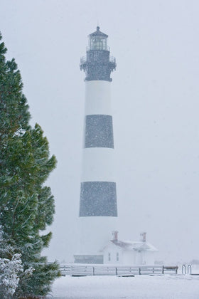 Bodie Island Light In Snow With Tree
