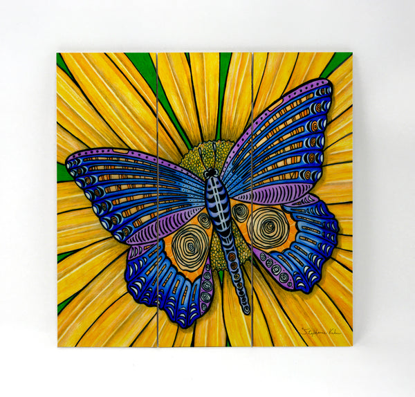 Wall Art Wood Triptychs - Butterfly