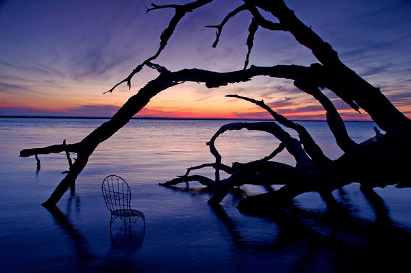 Sunset on Cumberland Island with Mrs. Davis' Chair in Georgia