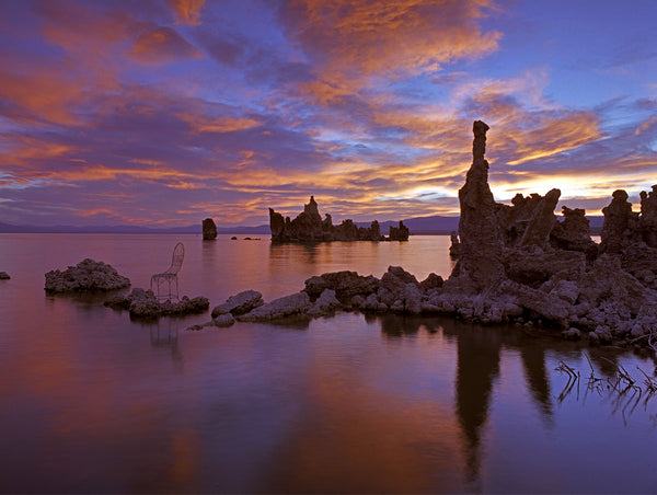 Sunrise over Mono Lake with Mrs. Davis' Chair in California