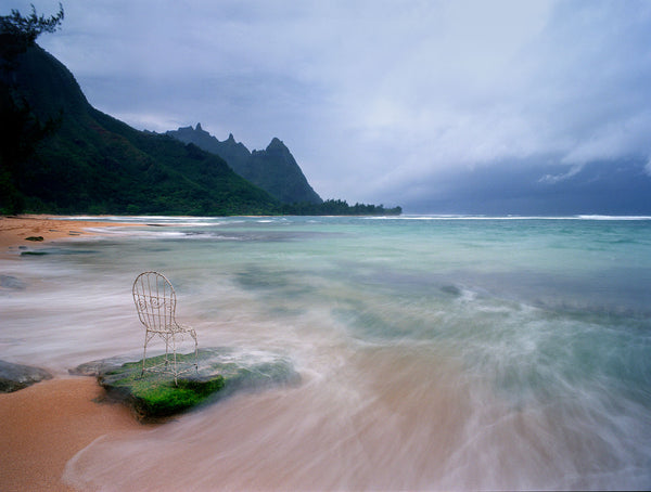 Storm clouds over the Kauai with Mrs. Davis' Chair in Hawaii