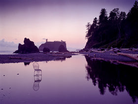 Twilight at Ruby Beach with Mrs. Davis' Chair in Washington