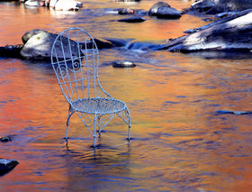 Midstream Reflections with Mrs. Davis' Chair in West Virginia