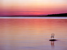Twilight on Lake Superior with Mrs. Davis' Chair in Wisconsin