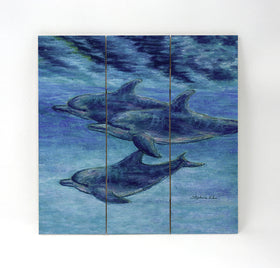 Wall Art Wood Triptychs - Dolphin Cruise