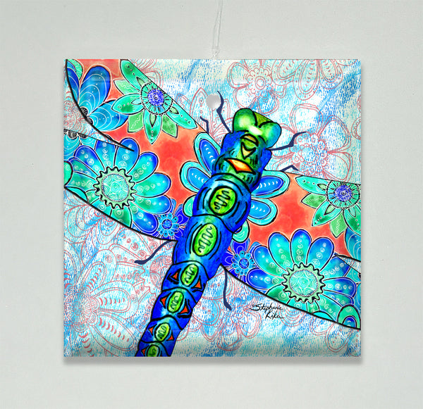 Ornament/Suncatcher - Dragonfly Flowers