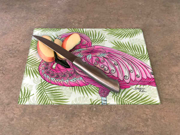 Cutting Board - Flamingo Flowers