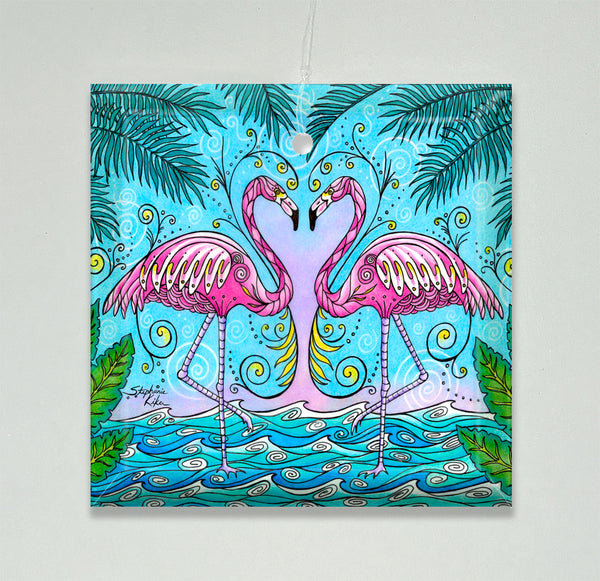 Ornament/Suncatcher - Flamingo Love