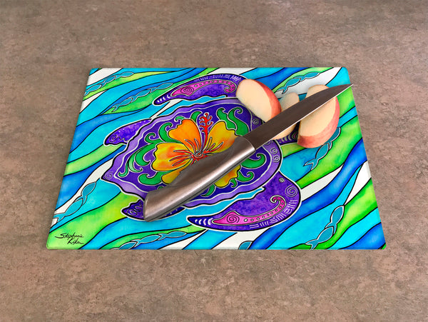 Cutting Board - Hibiscus Turtle
