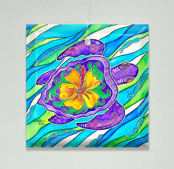 Ornament/Suncatcher - Hibiscus Turtle
