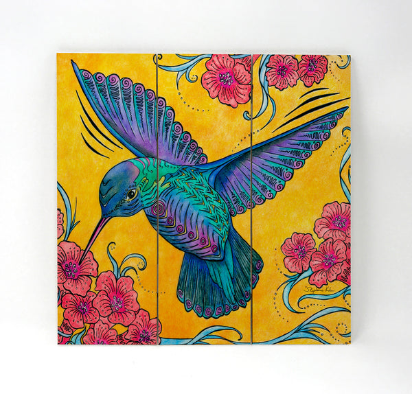 Wall Art Wood Triptychs - Hummingbird