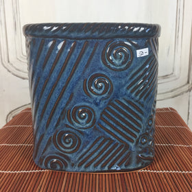 Dark Blue Square-ish Pot