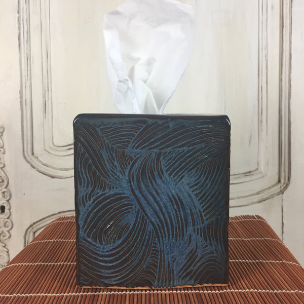 Tissue Box - Dark Blue Wavy