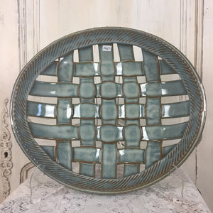 Round Woven Light Blue Basket