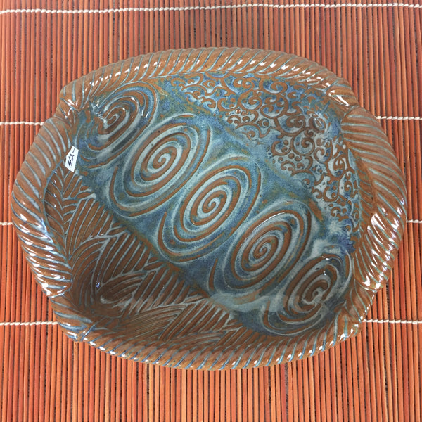 Tray - Brown and Blue Rectangular Swirl Pattern