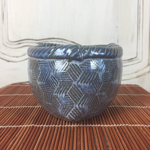 Bowl - Blue Three Sided Cube Design