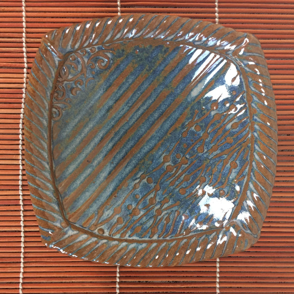 Dish - Small Copper and Blue Square