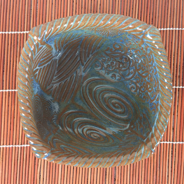 Bowl - Dark Brown and Blue Square