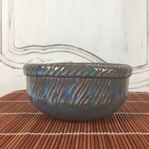 Bowl - Small Dark Brown and Blue Round