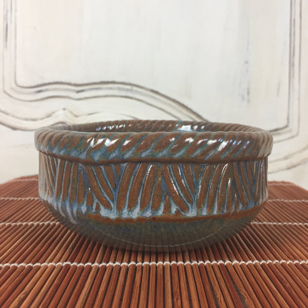 Bowl - Round Rusted Brown and Blue