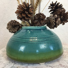 Load image into Gallery viewer, Small Rimed Blue and Green Ikebana Pot