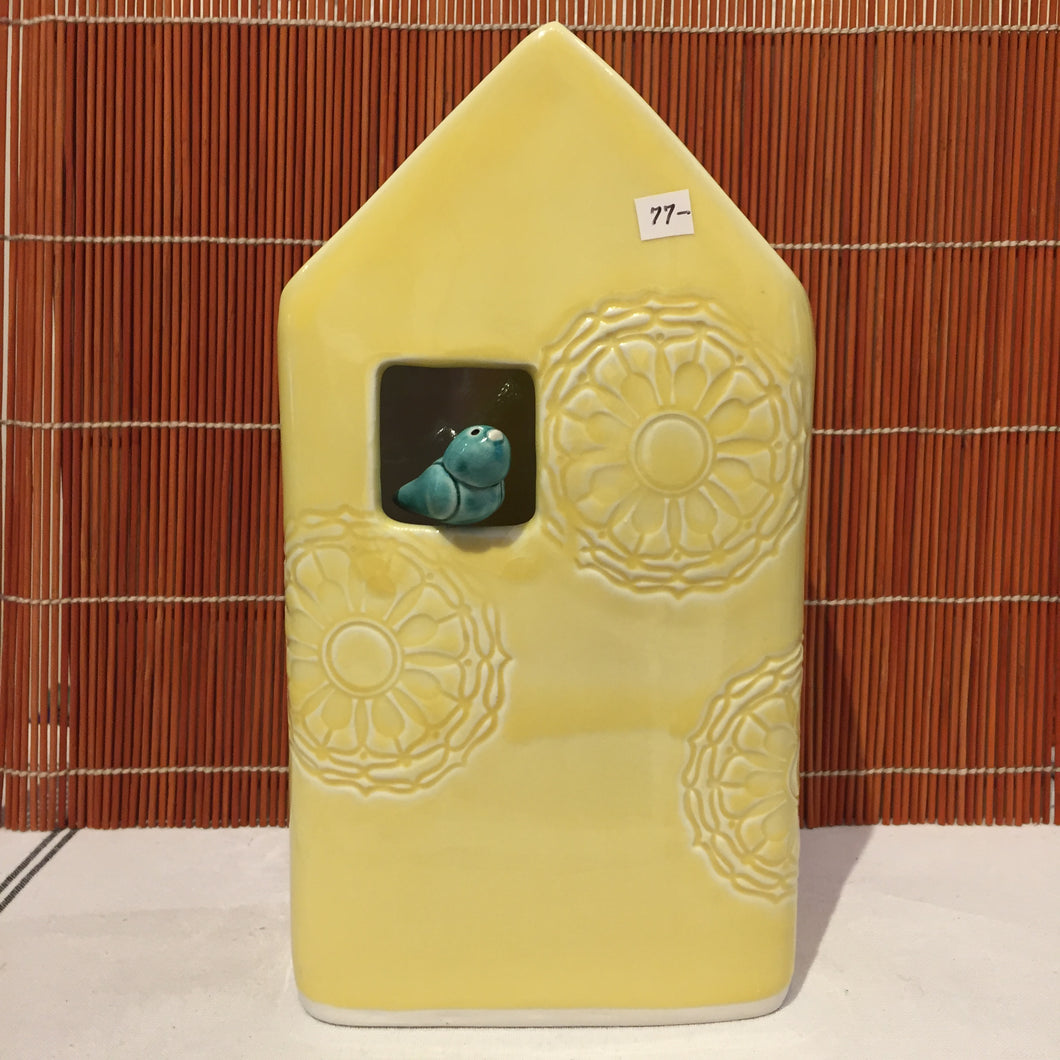 Yellow Bird House Vase