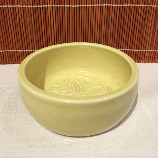Small Flower Designed Yellow Bowl