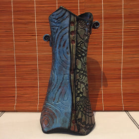 Vase - Tall Texture Blue and Copper
