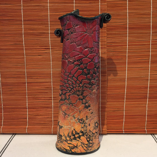Vase - Tall Red/Orange With Lace Texture