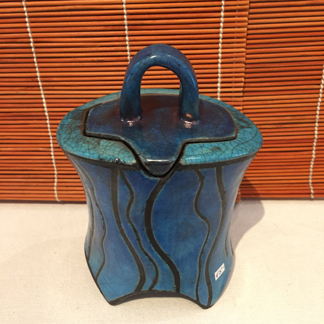 Blue and Black Container with Lid