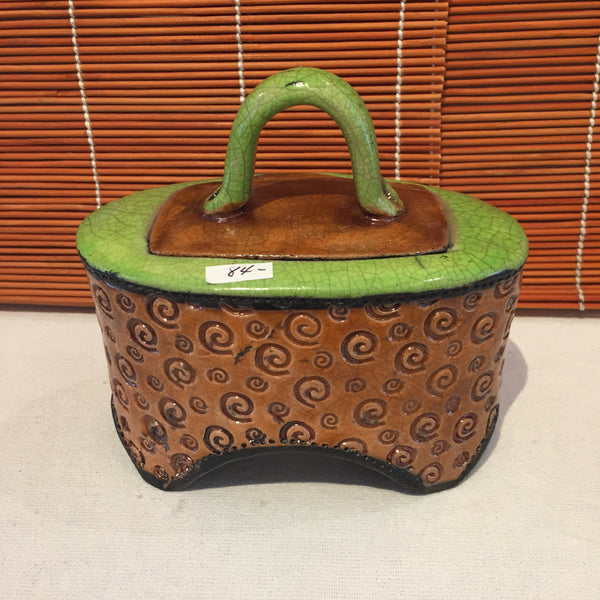 Box - Oval Copper and Lime With Lid