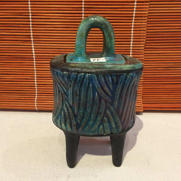 Box - Medium Turquois Ribbed Box With Lid