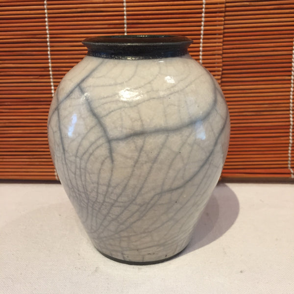 Vase - White Crackle With Black Rim