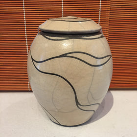 Jar - White With Black Lines Lidded