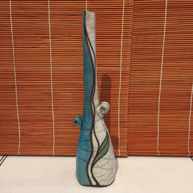 Vase - Tall White and Blue
