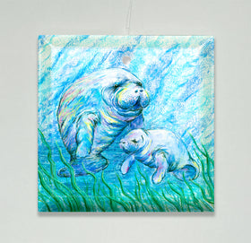 Ornament/Suncatcher - Manatees in Grass