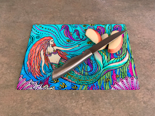 Cutting Board - Mermaid and Seahorses