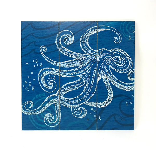 Wall Art Wood Triptychs - Octopus One Color