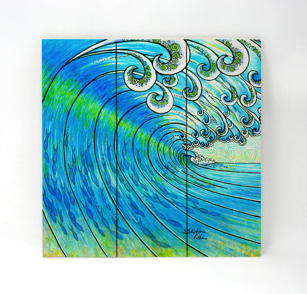 Wall Art Wood Triptychs - Party Wave Trip