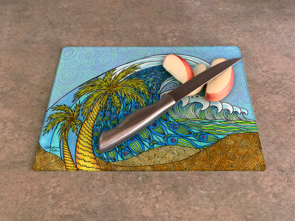 Cutting Board - Palm Tree and Waves