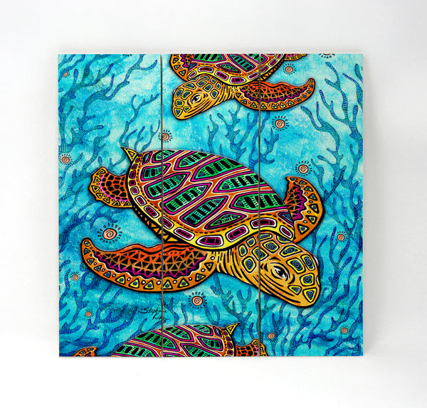 Wall Art Wood Triptychs - Primitive Loggerhead
