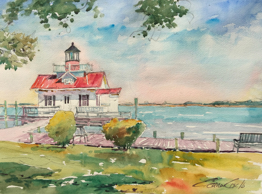 Watercolor Painting - Roanoke Marsh Lighthouse
