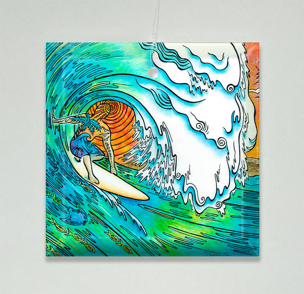 Ornament/Suncatcher - Sunset Surfer