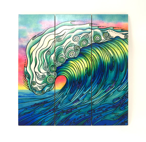 Wall Art Wood Triptychs - The Waves