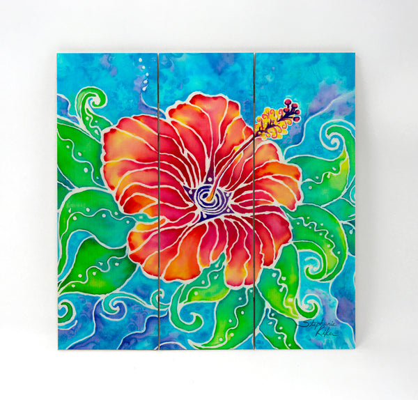 Wall Art Wood Triptychs - Tropical Hibiscus