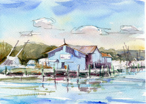 Watercolor Painting - Wanchese Harbor Study