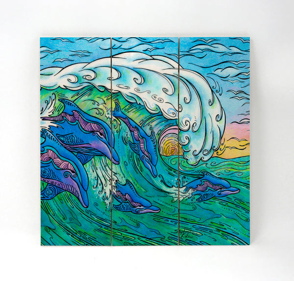 Wall Art Wood Triptychs - Wave Riding