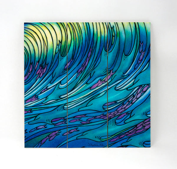 Wall Art Wood Triptychs - Waves of Dolphin